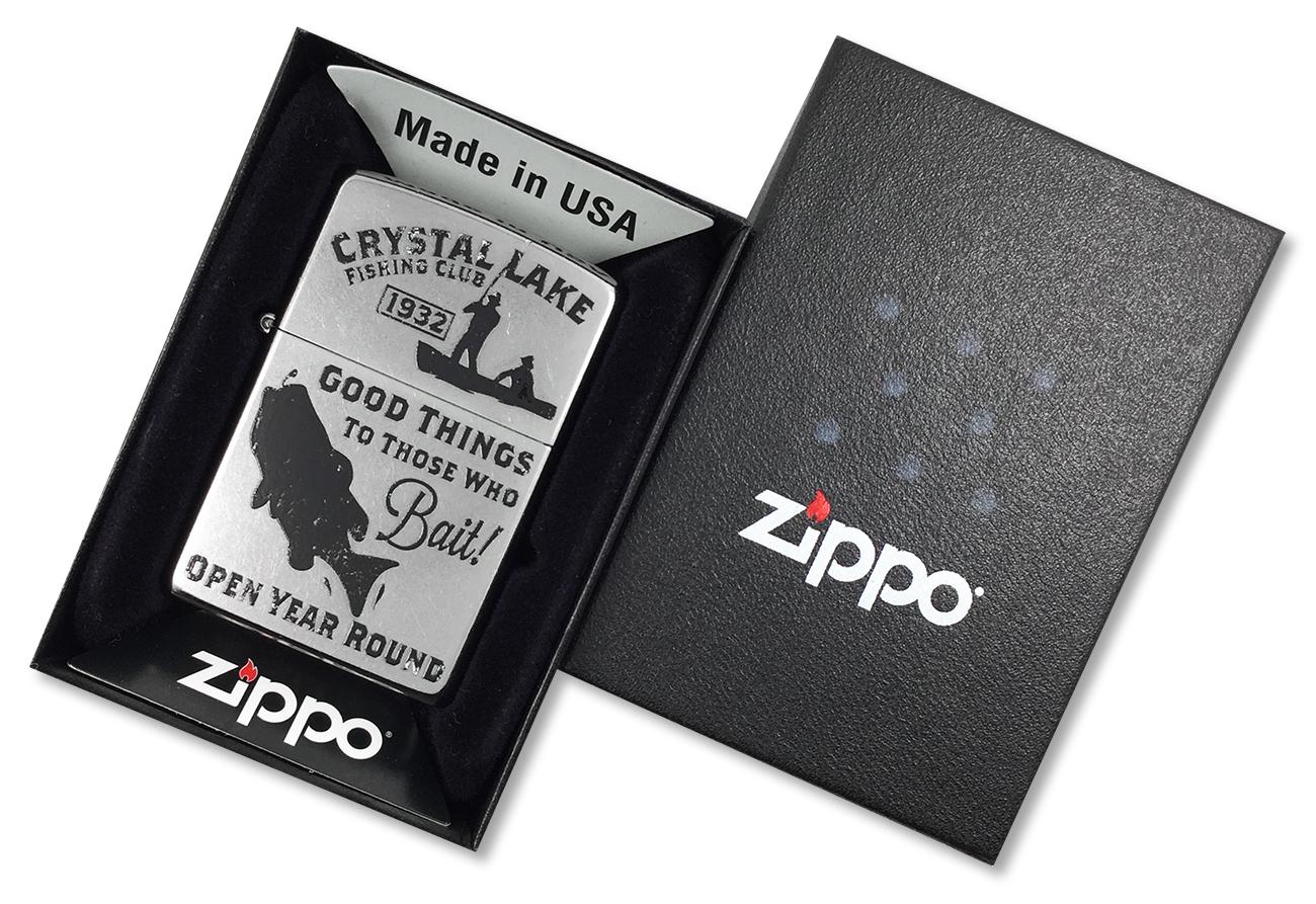 28937 Зажигалка Zippo Vintage Fishing, Street Chrome - в подарочной упаковке
