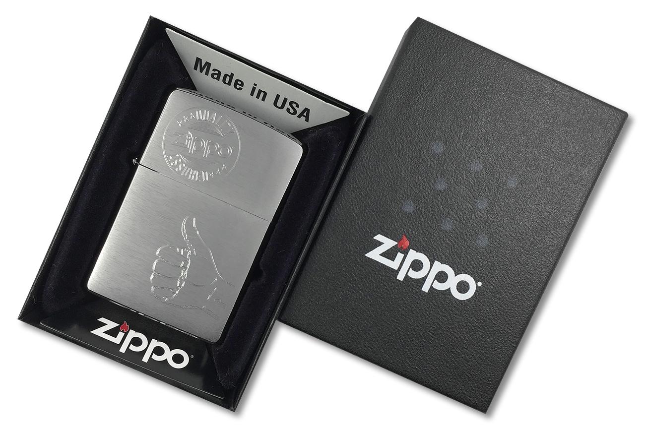 28942 Зажигалка Zippo Quality Assured, Brushed Chrome - в подарочной упаковке