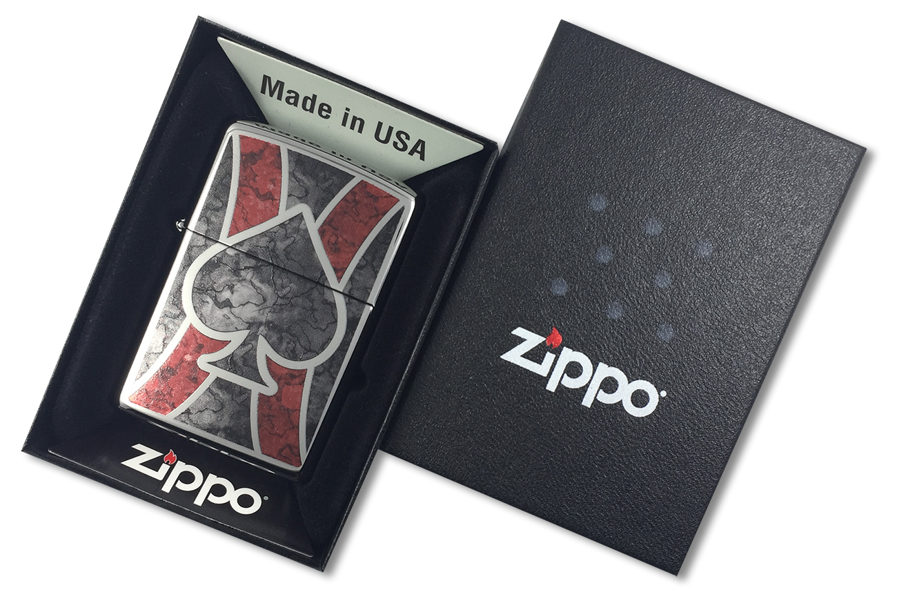 28952 Зажигалка Zippo Spade Fusion, Polish Chrome - в подарочной коробке