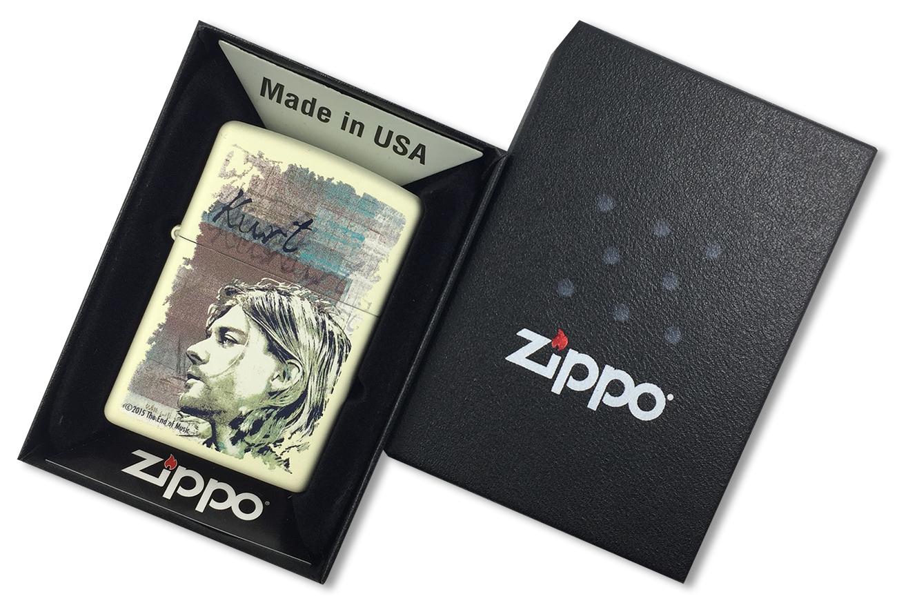 29051 Зажигалка Zippo Kurt Cobain, Cream Matte - в подарочной коробке