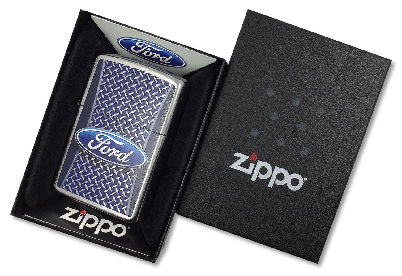 29065 Зажигалка Zippo Ford logo, Street Chrome - в подарочной коробке