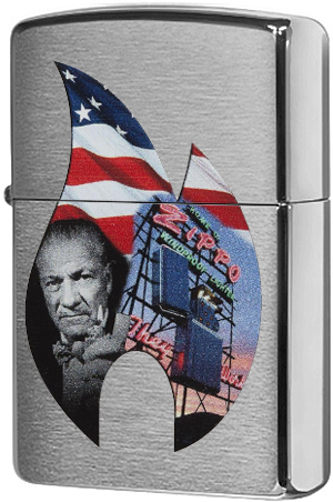 29075 Зажигалка Zippo Founder Collage Classic, Brushed Chrome