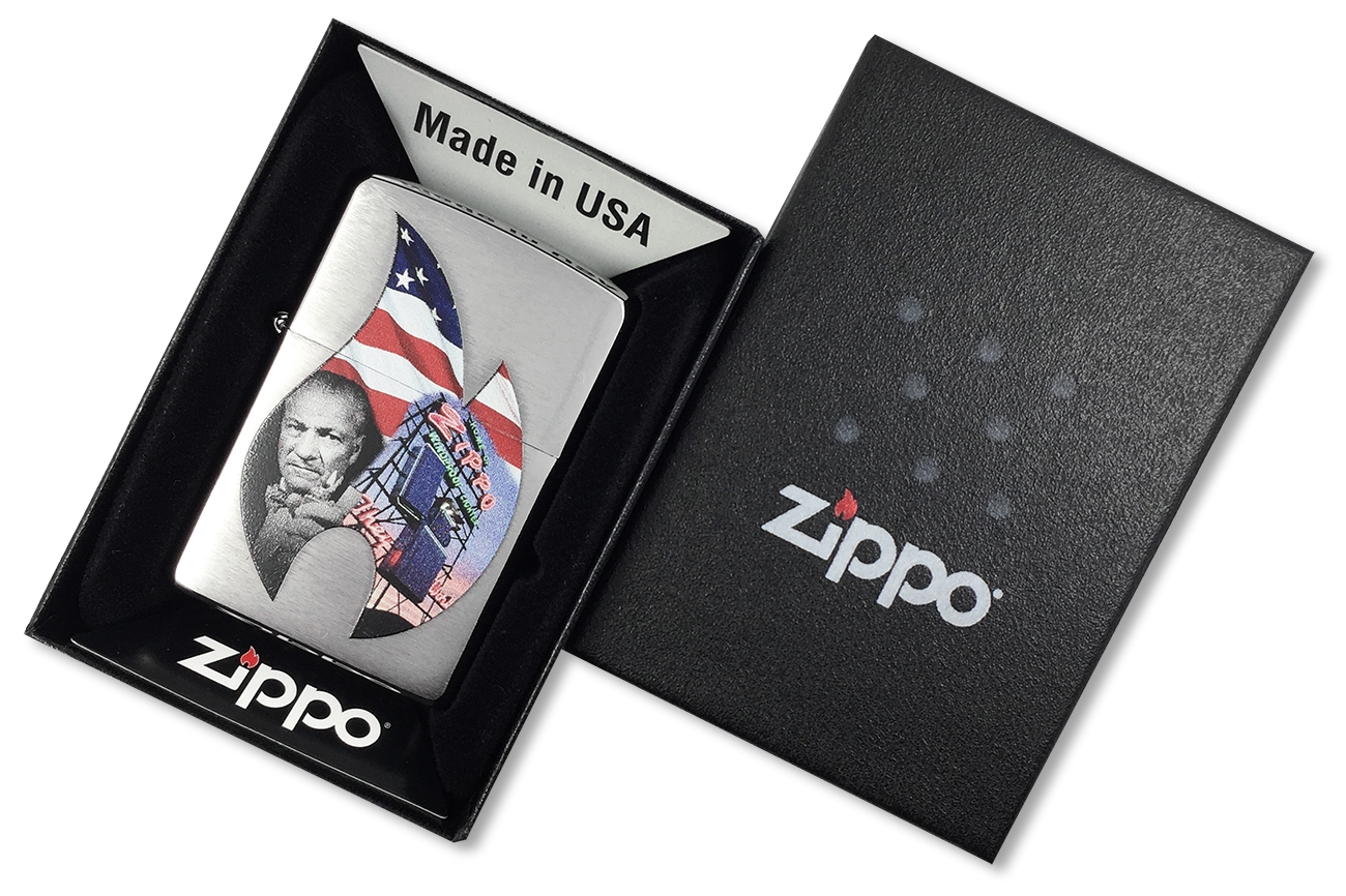 29075 Зажигалка Zippo Founder Collage Classic, Brushed Chrome - в подарочной коробке