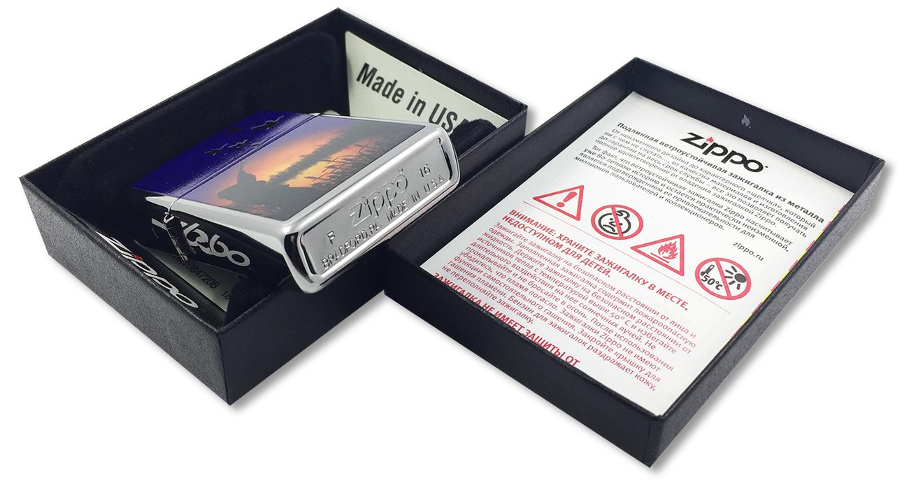 29076 Зажигалка Zippo Duck Hunting, Polish Chrome - заводской штамп на дне зажигалки