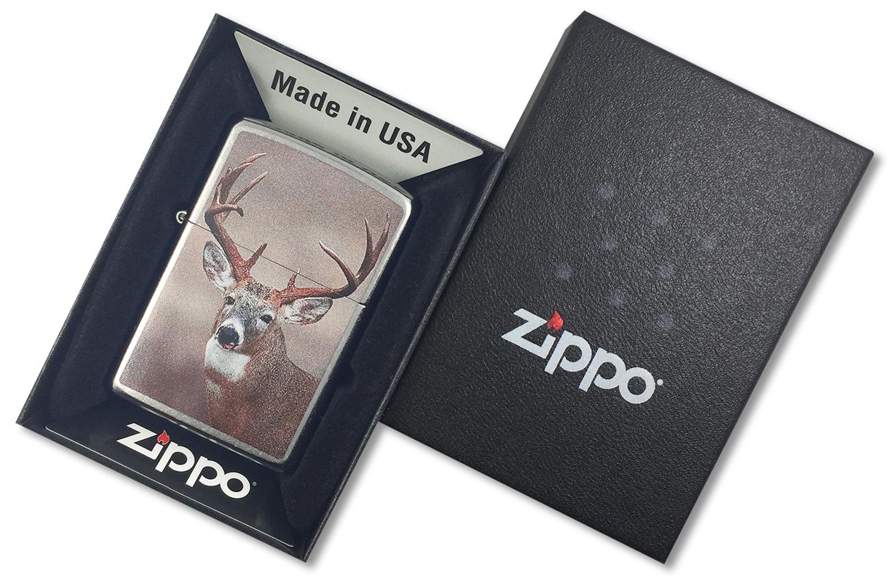 29081 Зажигалка Zippo Deer, Street Chrome - в подарочной упаковке