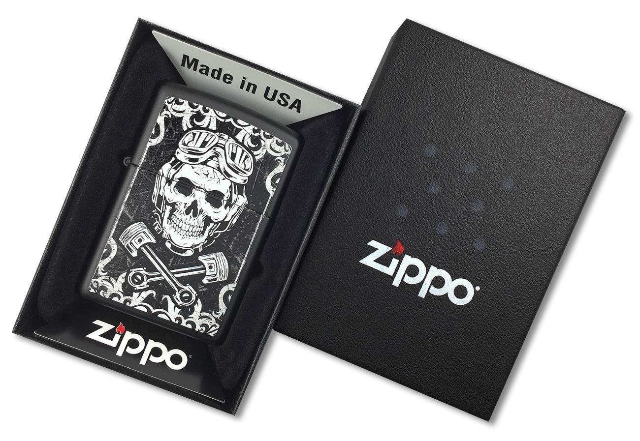 29088 Зажигалка Zippo Skull Pistons, Black Matte - в подарочной коробке зиппо