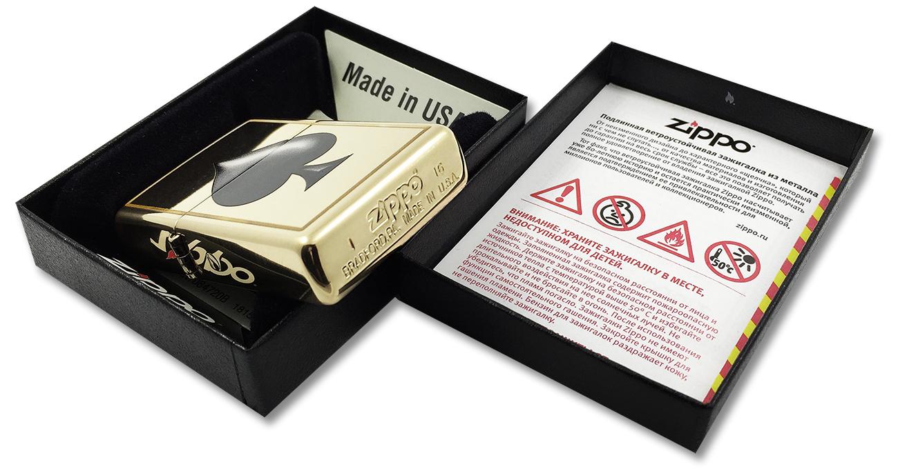 29094 Зажигалка Zippo Spades, Polish Brass - заводской штамп на дне зажигалки
