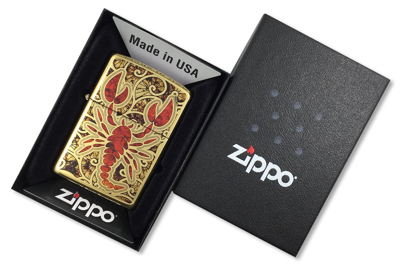 29096 Зажигалка Zippo Fusion Scorpion, Polish Brass - в подарочной коробке