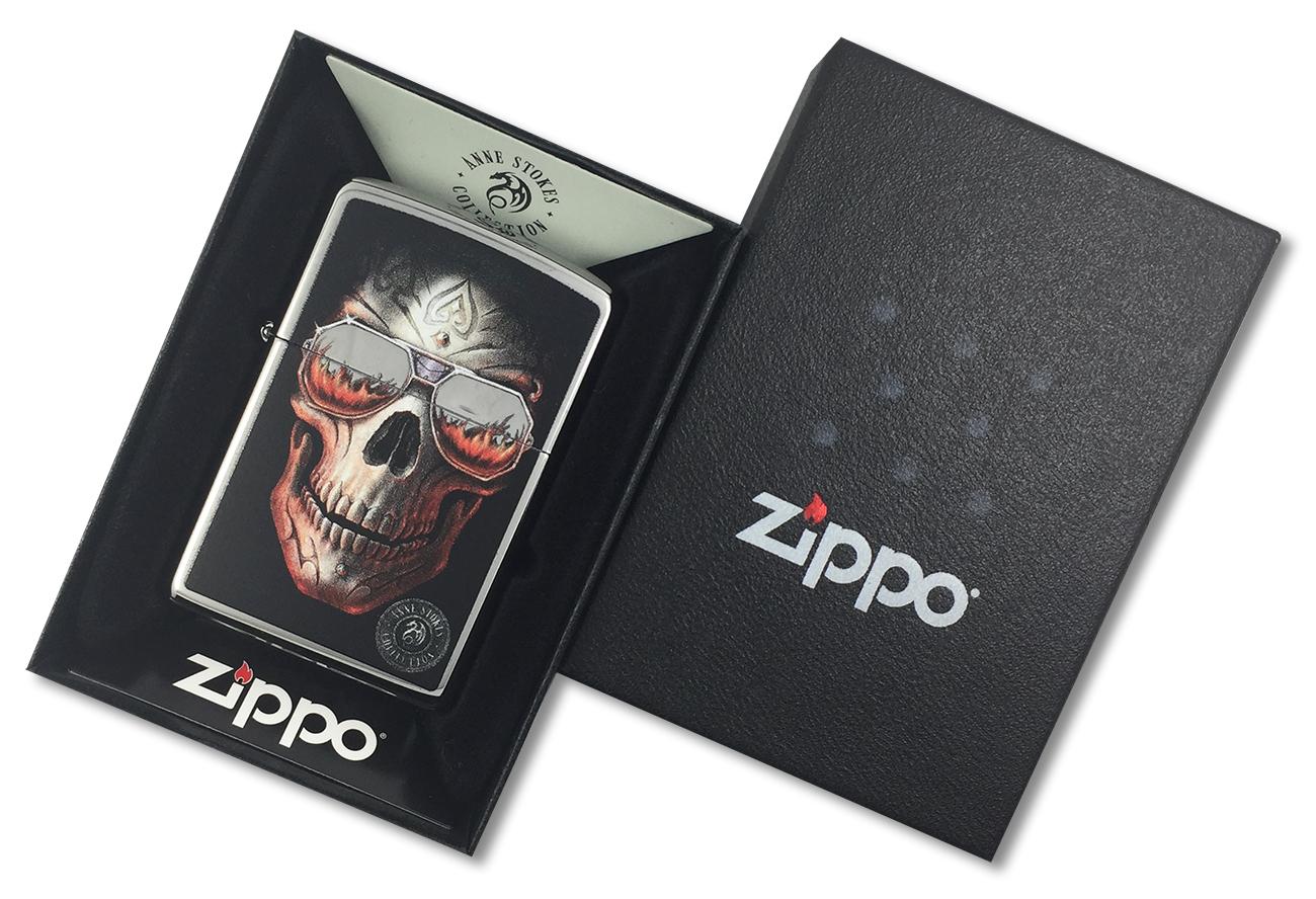 29108 Зажигалка Zippo Anne Stokes Skull Sunglasses, Polish Chrome - в подарочной упаковке