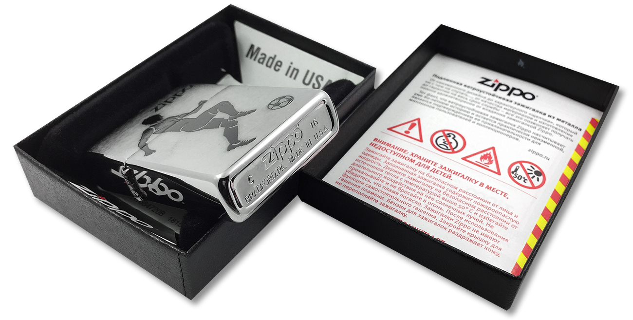 29201 Зажигалка Zippo Soccer Player, Brushed Chrome - заводской штамп на дне зажигалки