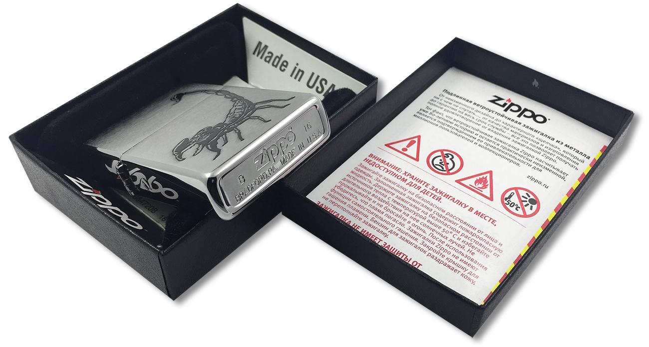 29204 Зажигалка Zippo Scorpion, Brushed Chrome - заводской штамп на дне зажигалки