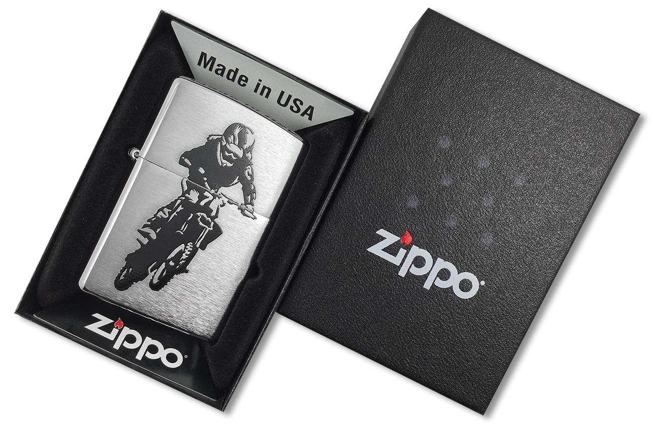 29207 Зажигалка Zippo Motorcross Rider, Brushed Chrome - в подарочной упаковке