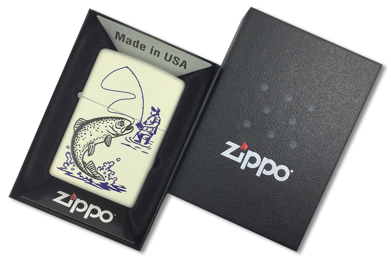 29227 Зажигалка Zippo Fishing, Cream Matte - в подарочной упаковке