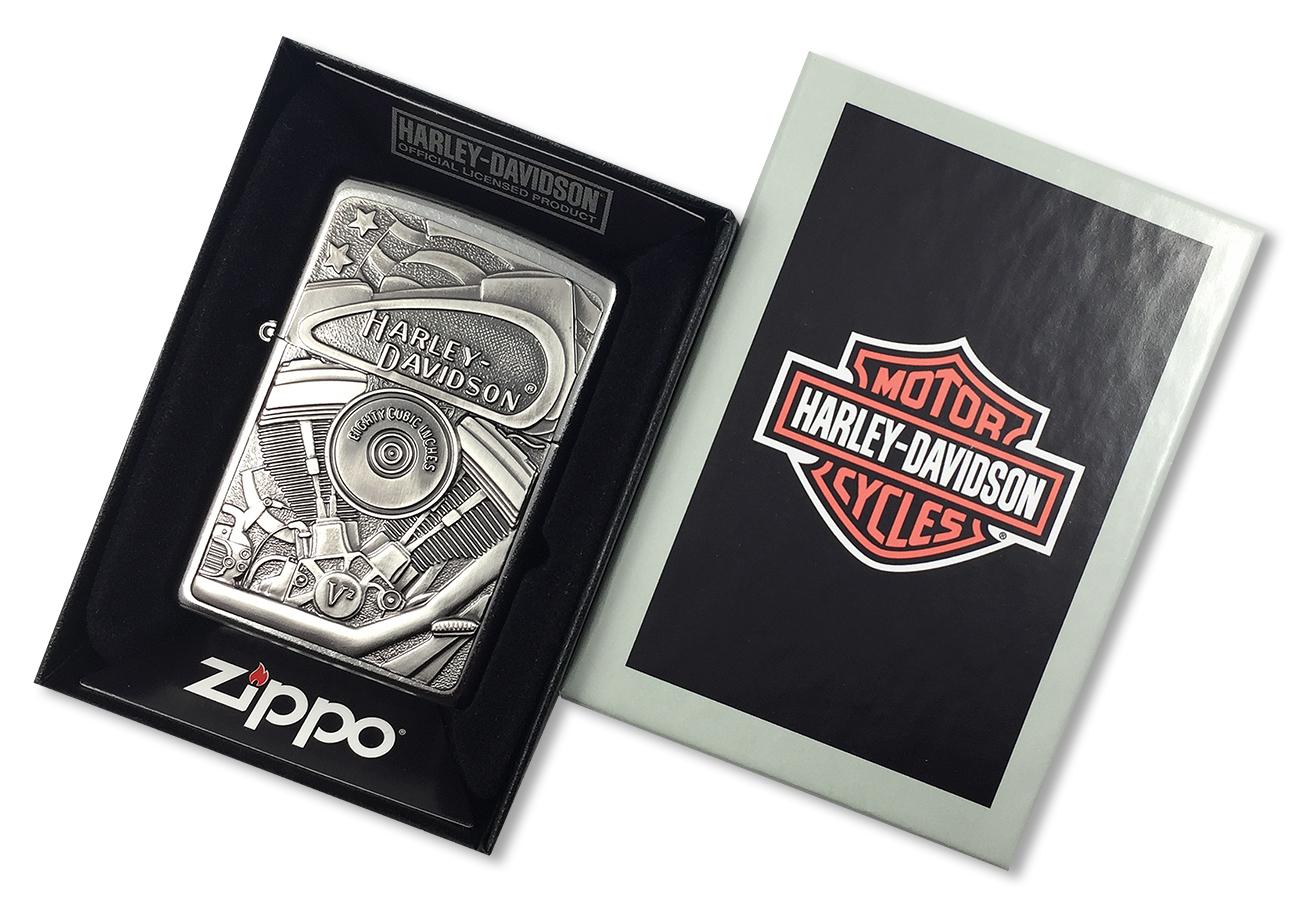 29266 Зажигалка Zippo HD Motor Flag Emblem, Street Chrome - в фирменной подарочной коробке