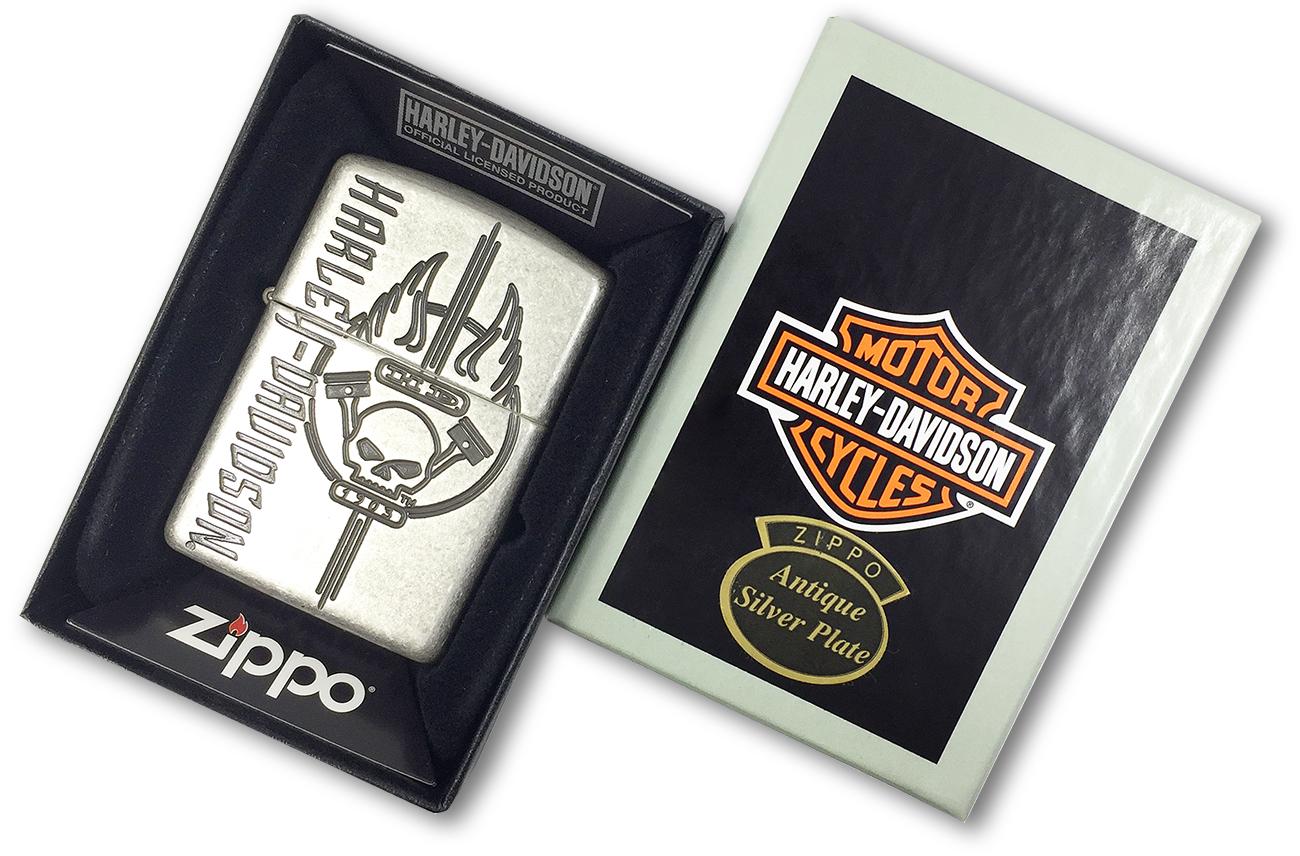 29280 Зажигалка Zippo Harley Davidson Scull Armor, Antique Silver Plate - в подарочной упаковке