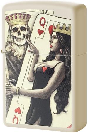 29393 Зажигалка Zippo Skull, King, Queen Beauty, Cream Matte