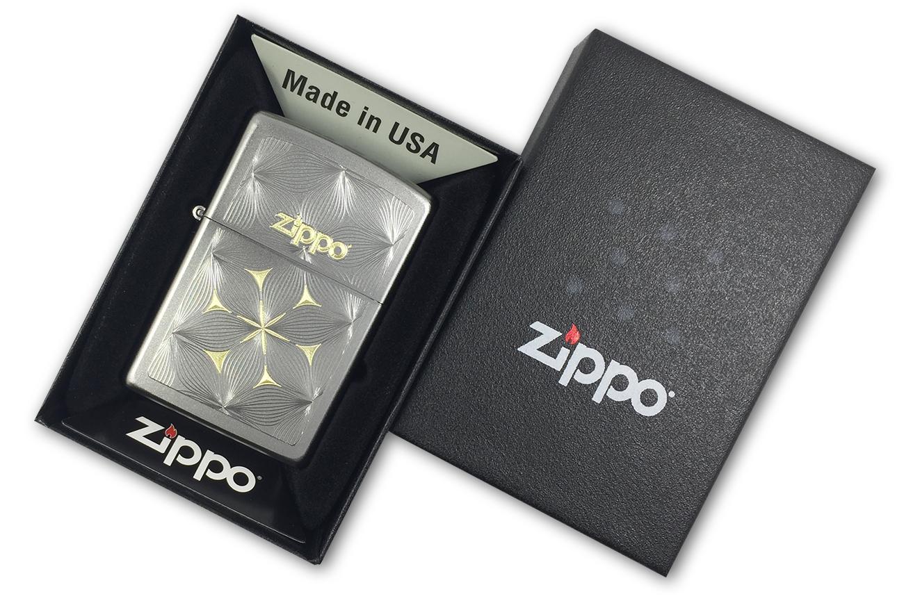 29411 Зажигалка Zippo Flowers, Satin Chrome - в подарочной коробке