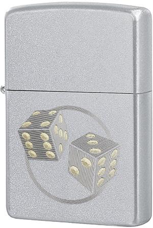 29412 Зажигалка Zippo Dice Engraved, Satin Chrome