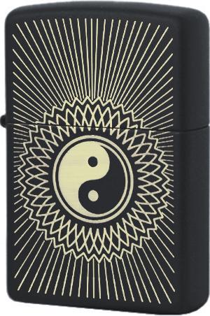 29423 Зажигалка Zippo Yin & Yang 2, Black Matte
