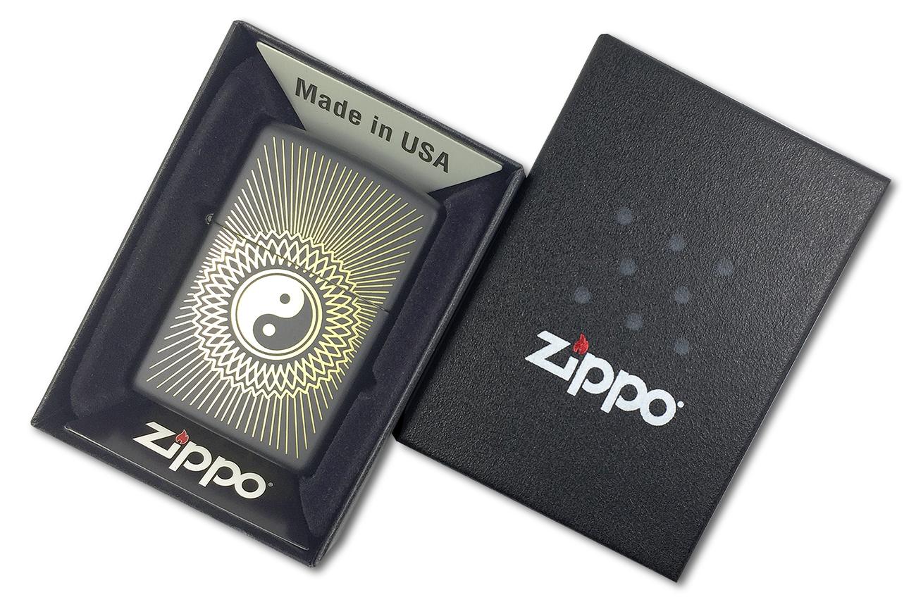 29423 Зажигалка Zippo Yin & Yang 2, Black Matte - в подарочной коробке