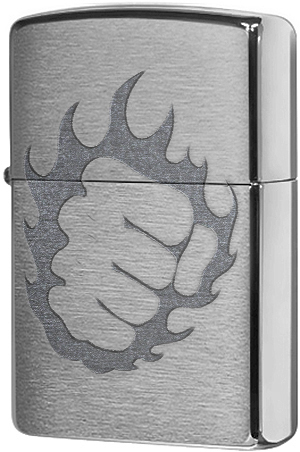 29428 Зажигалка Zippo Tattoo Fire & Fist, Brushed Chrome