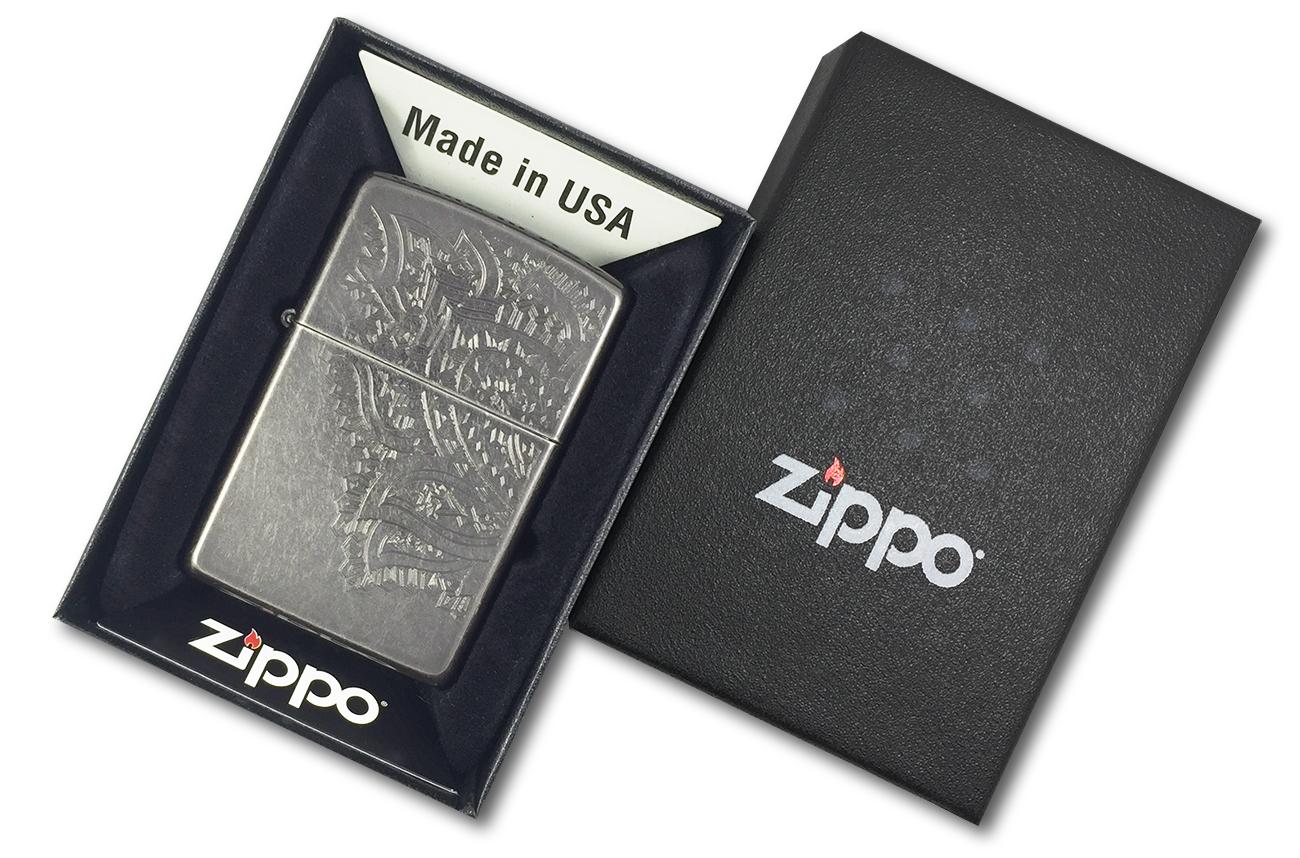 29431 Зажигалка Zippo Iced Paisley, Gray Dusk - в подарочной упаковке