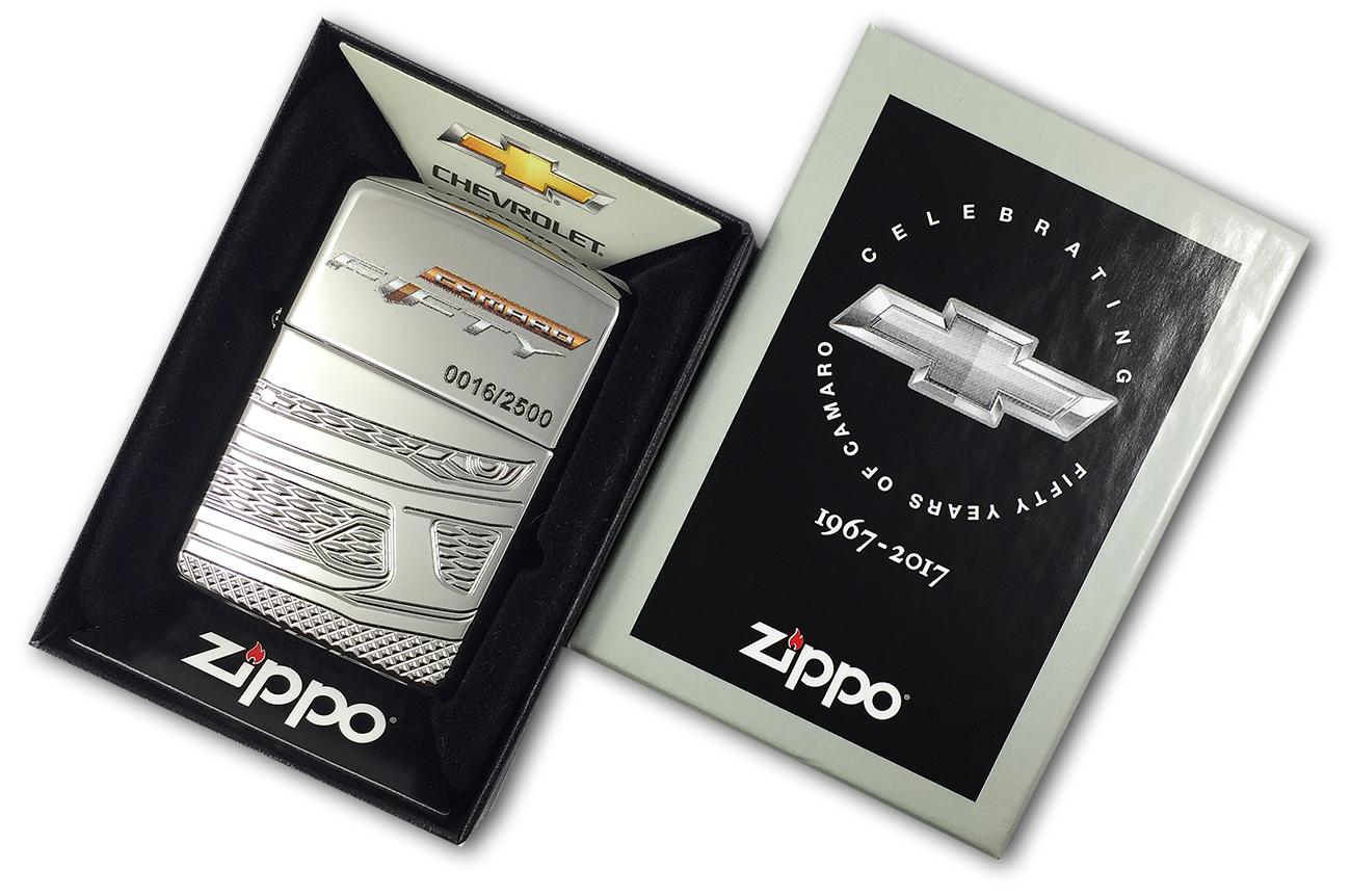29478 Зажигалка Zippo Chevy Camaro-50th Anniversary, Armor Polish Chrome - в подарочной коробке