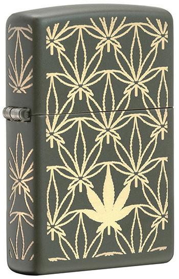 29589 Зажигалка Zippo Marijuana Pattern, Green Matte - сторона петли