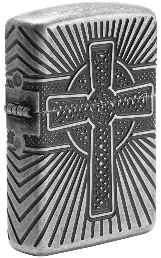 29667 Зажигалка Zippo Armor Celtic Cross Design, Antique Silver - лицевая сторона