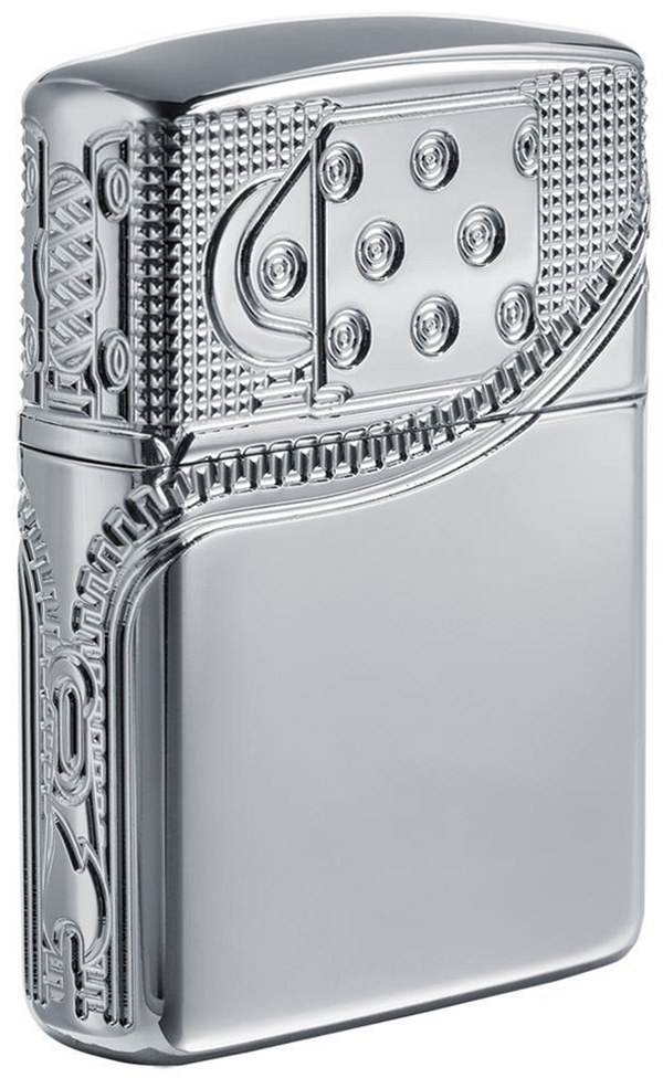 29674 Зажигалка Zippo Armor Zipper Design, Polish Chrome - оборотная сторона