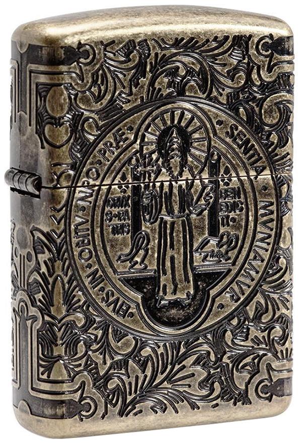 29719 Зажигалка Zippo St. Benedict Design, Armor Antique Brass - лицевая сторона