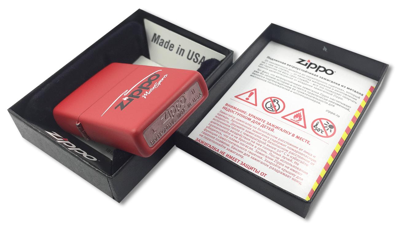304 Motor Sports Зажигалка Zippo, Red Matte - заводской штамп на дне зажигалки