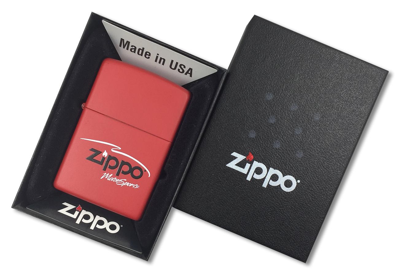 304 Motor Sports Зажигалка Zippo, Red Matte - в подарочной упаковке