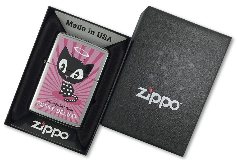 1210176 Зажигалка  Zippo Pussy Deluxe, Polish Chrome - в подарочной коробке