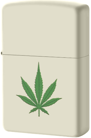 216 Зажигалка Zippo Green Marijuana Leaf Design, Cream Matte