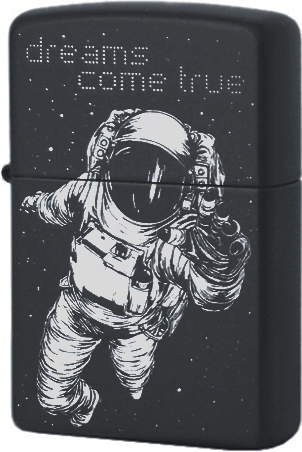 218 Зажигалка Zippo Dreams Come True Custom, Black Matte