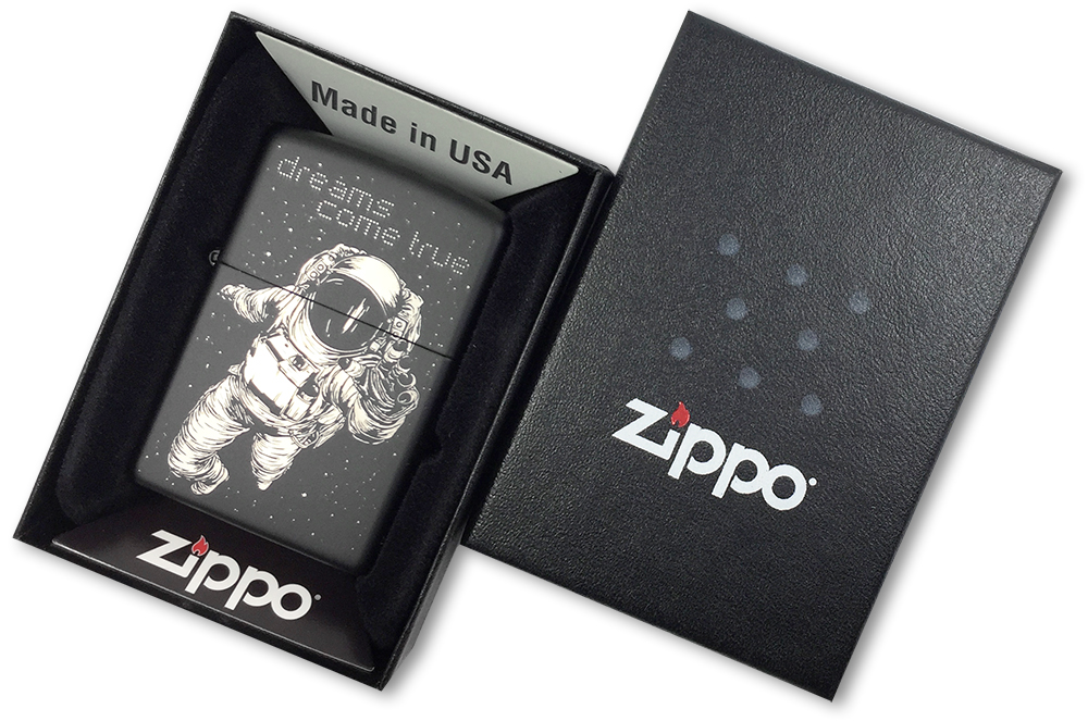 218 Зажигалка Zippo Dreams Come True Custom, Black Matte - в подарочной коробке