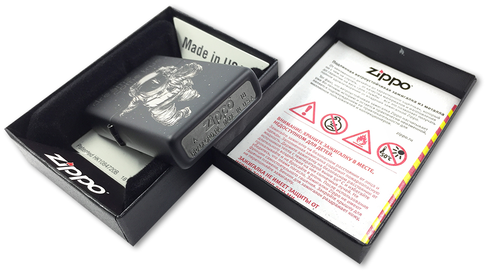 218 Зажигалка Zippo Dreams Come True Custom, Black Matte - заводской штамп на дне зажигалки