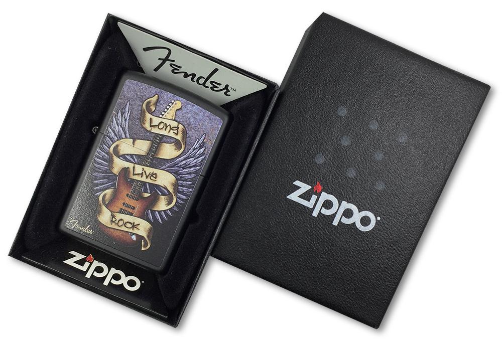 218 Зажигалка Zippo Fender Guitar-Long Live Rock, Black Matte - в подарочной коробке
