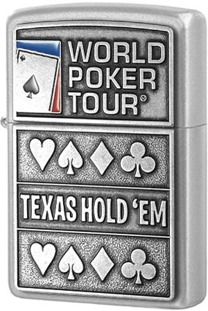 24357 Зажигалка Zippo World Poker Tour, Satin Chrome