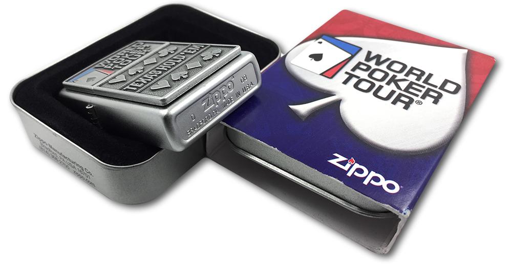 24357 Зажигалка Zippo World Poker Tour, Satin Chrome - заводской штамп на дне зажигалки