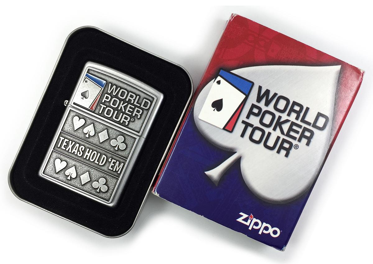 24357 Зажигалка Zippo World Poker Tour, Satin Chrome - в индивидуальной подарочной коробке