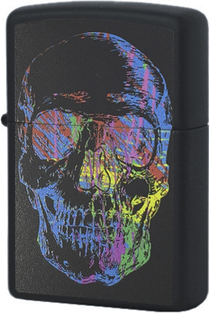28042 Зажигалка Zippo Colorful Skull, Black Matte