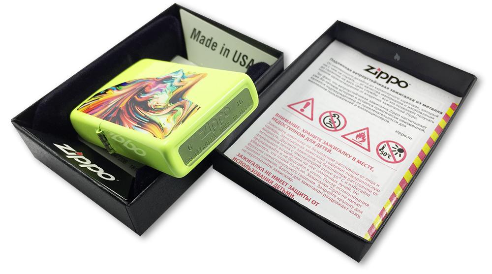 29083 Зажигалка Zippo Colorful Head, Neon Yellow - заводской штамп на дне зажигалки