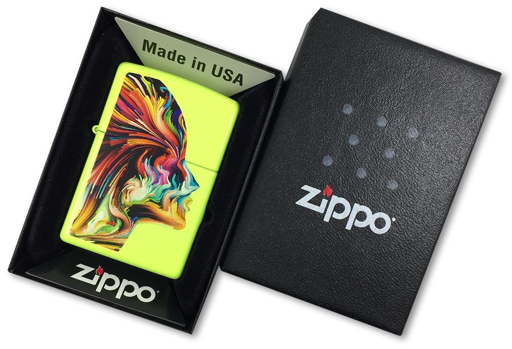 29083 Зажигалка Zippo Colorful Head, Neon Yellow - в подарочной упаковке