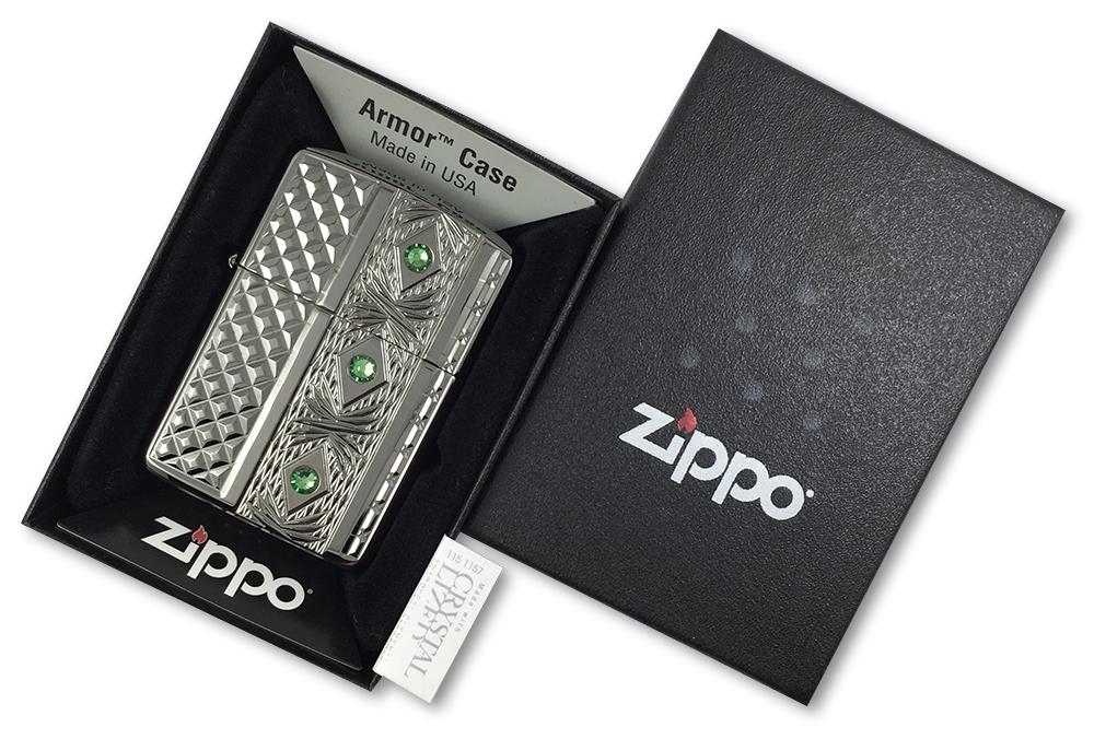 29255 Зажигалка Zippo Elegant Diamonda Crystal, Armor Black Ice - в подарочной коробке