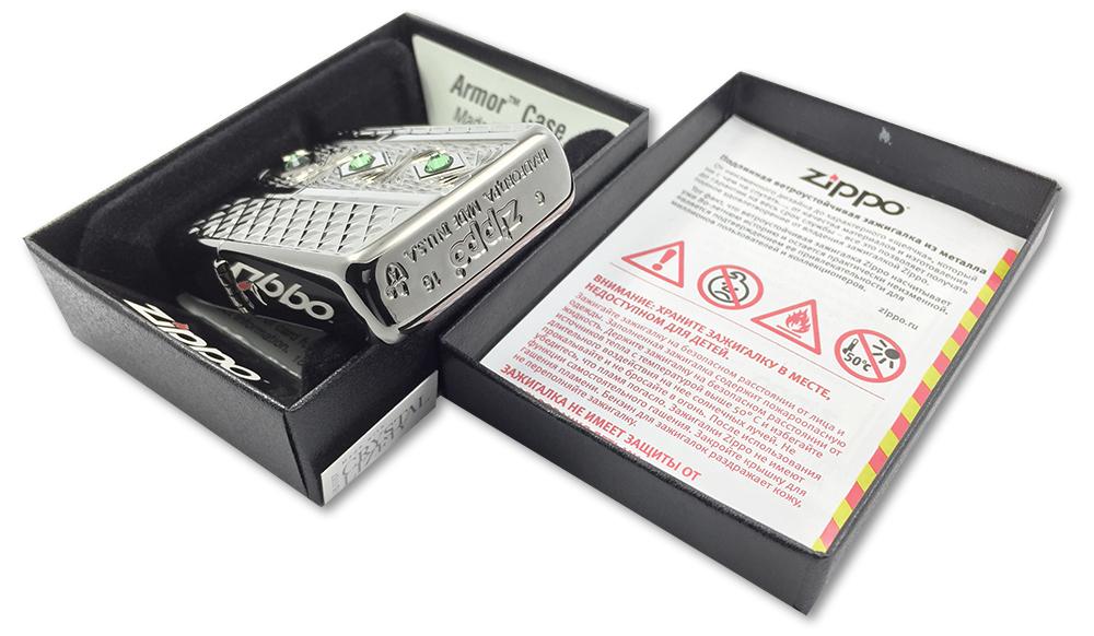 29255 Зажигалка Zippo Elegant Diamonda Crystal, Armor Black Ice - заводской штамп на дне зажигалки