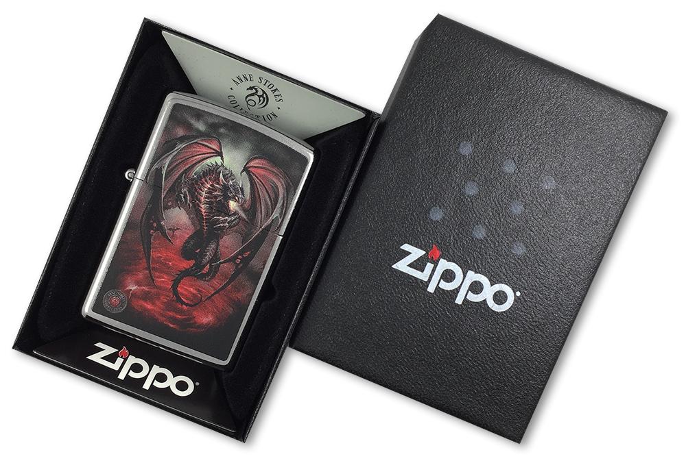 29349 Зажигалка Zippo Dragon Anne Stokes, Street Chrome - в подарочной коробке