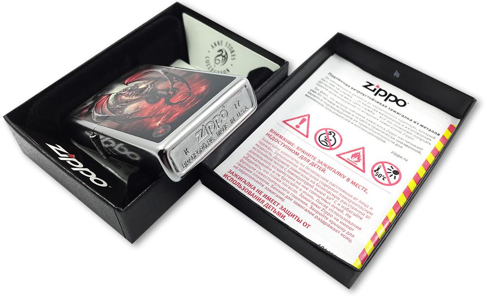 29349 Зажигалка Zippo Dragon Anne Stokes, Street Chrome - заводской штамп на дне зажигалки