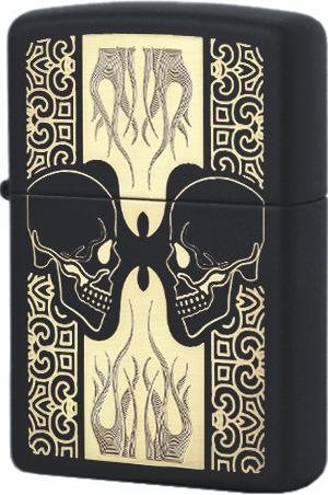 29404 Зажигалка Zippo Skulls, Black Matte